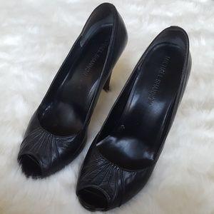Michael Shannon black open toe stilettoes
